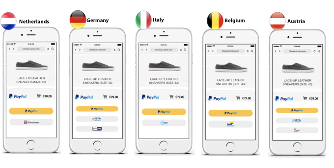 PayPal's new smart payment buttons will feature preferred alternative payment methods for the customer's region.